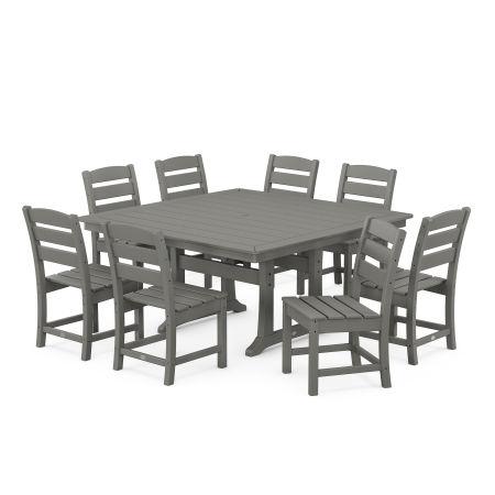 Lakeside 9-Piece Farmhouse Trestle Dining Set in Slate Grey