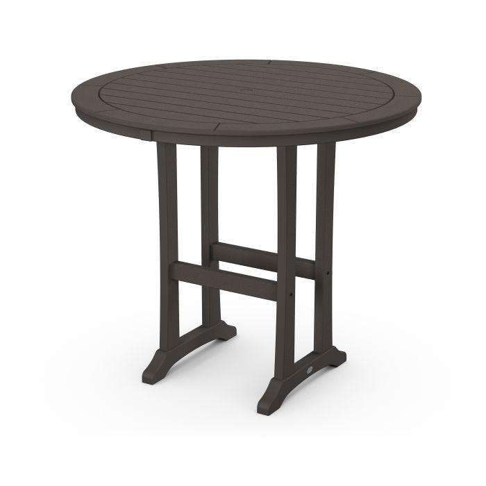 "Nautical Trestle 48"" Round Bar Table in Vintage Finish"