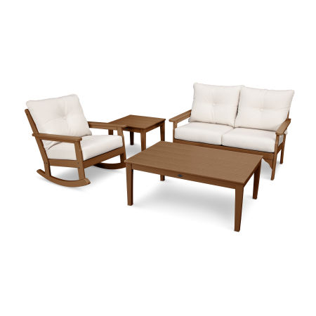 Vineyard 4-Piece Deep Seating Rocking Chair Set in Teak / Antique Beige