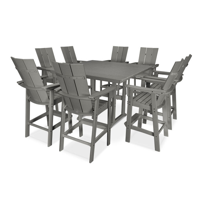 Modern Curveback Adirondack 9-Piece Farmhouse Trestle Bar Set