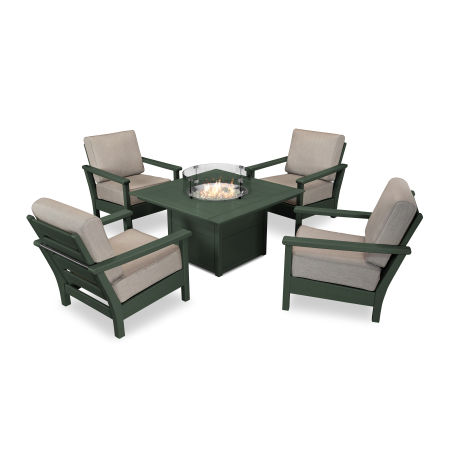 Harbour 5-Piece Conversation Set with Fire Pit Table in Green / Cast Ash