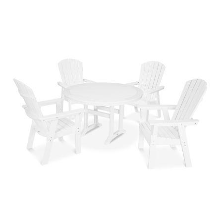 Nautical Adirondack 5-Piece Round Trestle Dining Set in Vintage White