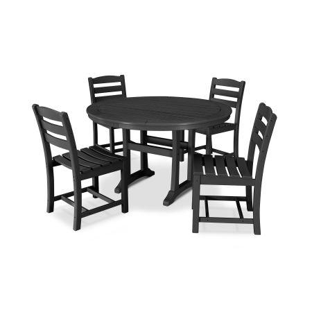 La Casa Café 5 Piece Side Chair Dining Set in Black