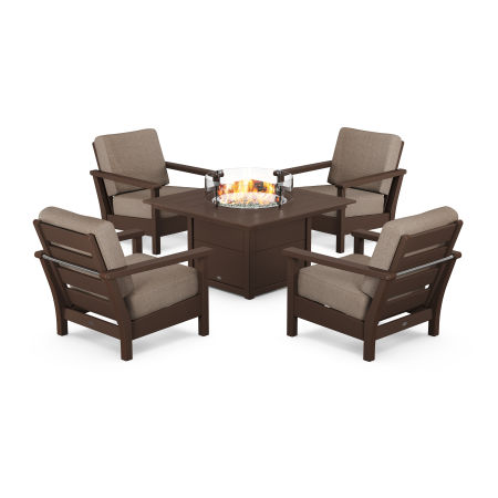 Harbour 5-Piece Conversation Set with Fire Pit Table in Mahogany / Spiced Burlap