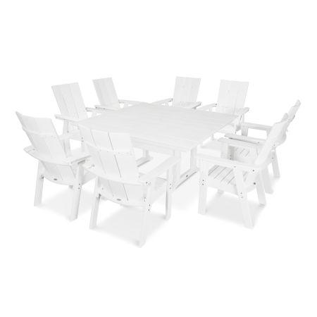 Modern Adirondack 9-Piece Farmhouse Dining Set in Vintage White