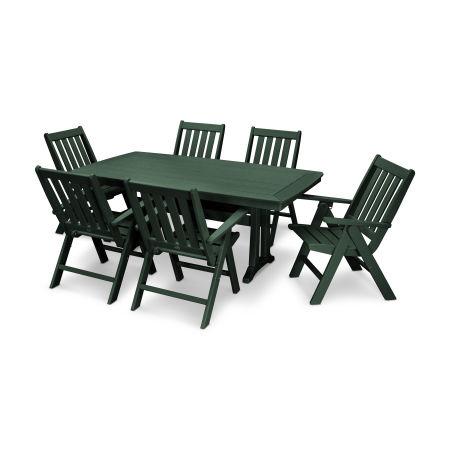 Vineyard 7-Piece Nautical Trestle Folding Dining Set in Green
