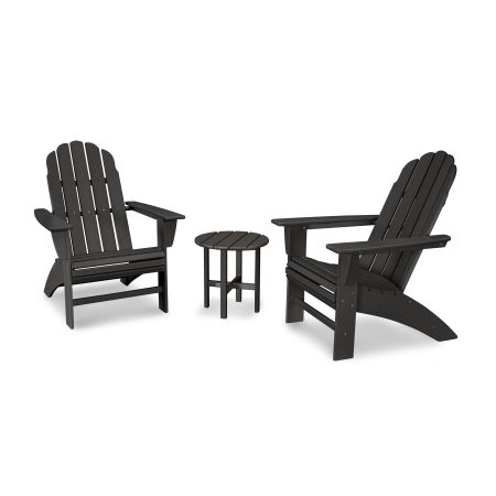Vineyard 3-Piece Curveback Adirondack Set in Black