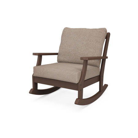 Braxton Deep Seating Rocking Chair in Mahogany / Spiced Burlap