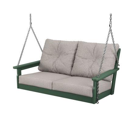 Vineyard Deep Seating Swing in Green / Weathered Tweed