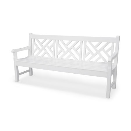 """Rockford 72"""" Chippendale Bench in White"""