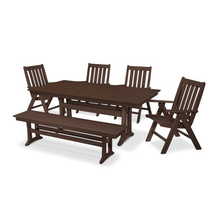 Vineyard 6-Piece Farmhouse Folding Dining Set with Bench in Mahogany
