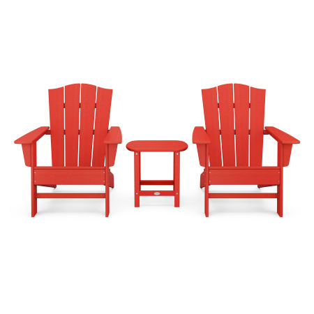 Wave 3-Piece Adirondack Chair Set with The Crest Chairs in Sunset Red