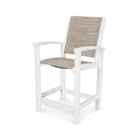 Coastal Counter Chair in Vintage White / Onyx Sling