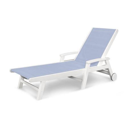 Coastal Wheel Chaise in White / Poolside Sling