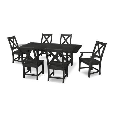 Braxton 7-Piece Rustic Farmhouse Dining Set in Black
