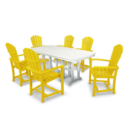 Palm Coast 7-Piece Dining Set in Lemon / White