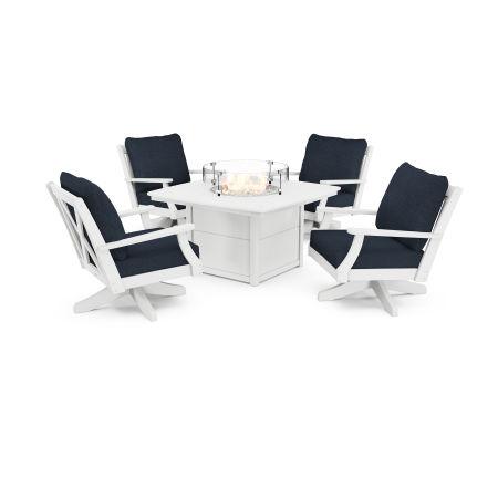 Braxton 5-Piece Deep Seating Swivel Conversation Set with Fire Pit Table in White / Marine Indigo