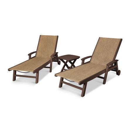 Coastal 3-Piece Wheeled Chaise Set in Mahogany / Burlap Sling