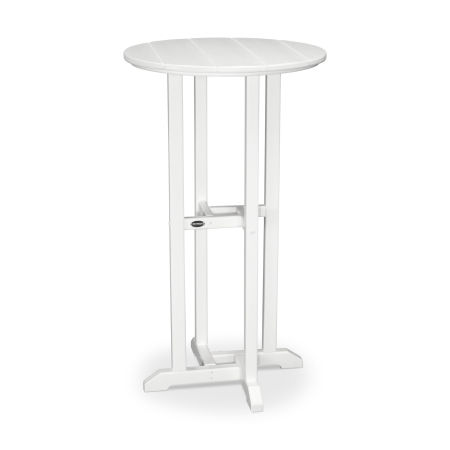"""24"""" Round Bar Table in White"""
