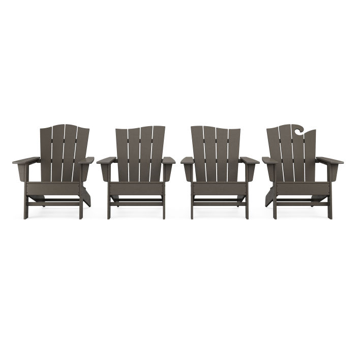 Wave Collection 4-Piece Adirondack Chair Set in Vintage Finish