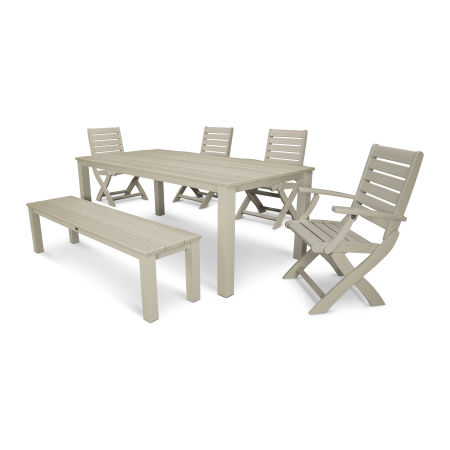 Signature 6-Piece Harvest Bench Dining Set in Satin Tan / Sand