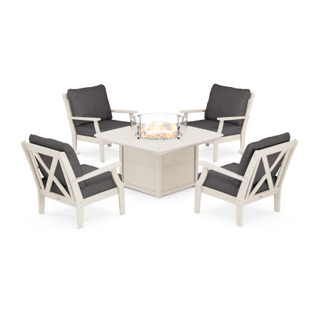 Braxton 5-Piece Deep Seating Conversation Set with Fire Pit Table in Sand / Ash Charcoal