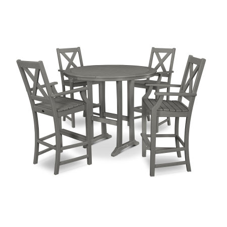 Braxton 5-Piece Nautical Trestle Arm Chair Bar Set