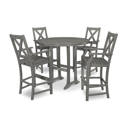 Braxton 5-Piece Nautical Trestle Arm Chair Bar Set in Slate Grey