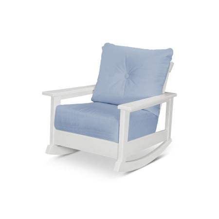 Prescott Deep Seating Rocking Chair in White / Air Blue