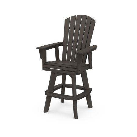 Nautical Curveback Adirondack Swivel Bar Chair in Vintage Finish