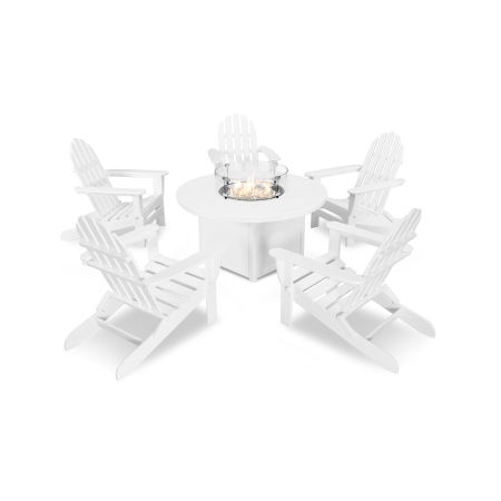 Classic Folding Adirondack 6-Piece Conversation Set with Fire Pit Table in White