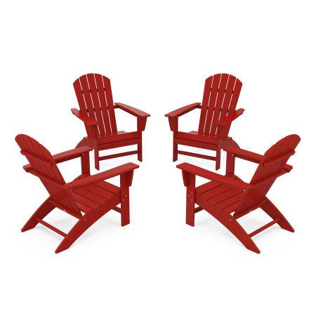 Nautical 4-Piece Adirondack Conversation Set in Crimson Red