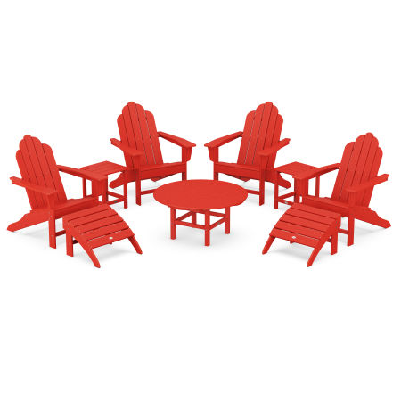 Long Island Adirondack 9-Piece Conversation Group in Sunset Red