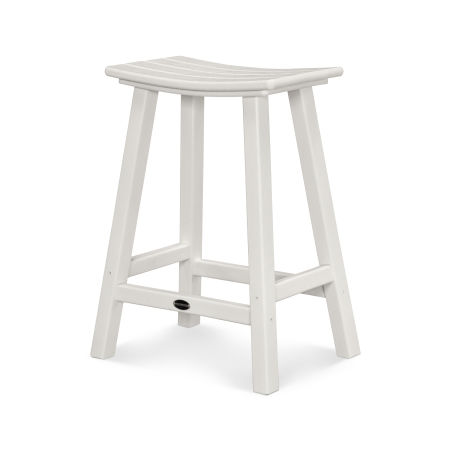 "Traditional 24"" Saddle Bar Stool in White"