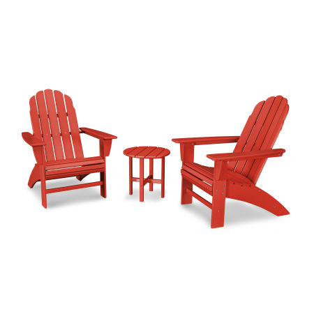 Vineyard 3-Piece Curveback Adirondack Set in Sunset Red