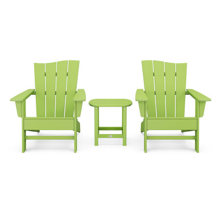 Wave 3-Piece Adirondack Chair Set in Lime