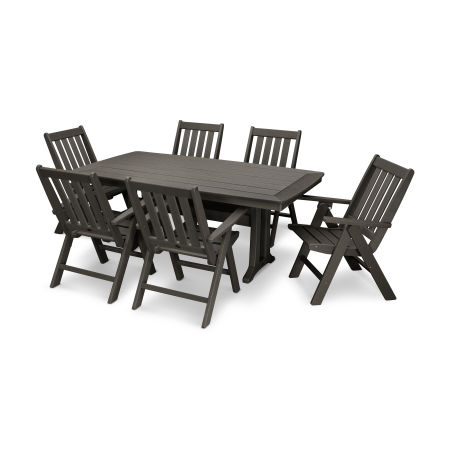 Vineyard 7-Piece Nautical Trestle Folding Dining Set in Vintage Finish