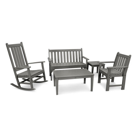 Vineyard 5-Piece Bench & Rocking Chair Set in Slate Grey