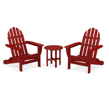Classic Folding Adirondack 3-Piece Set in Crimson Red