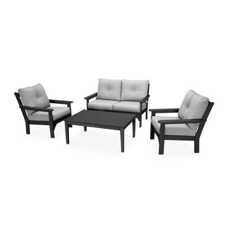 Vineyard 4-Piece Deep Seating Set in Black / Canvas Granite