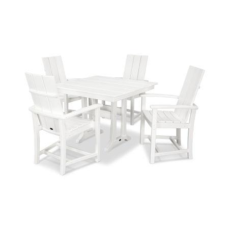 Modern Adirondack 5-Piece Farmhouse Trestle Dining Set in White