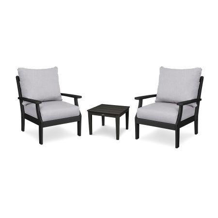 Braxton 3-Piece Deep Seating Set in Black / Granite