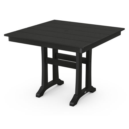 "Farmhouse Trestle 37"" Dining Table in Black"