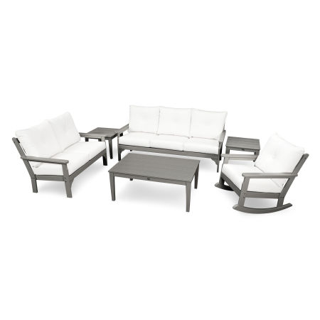 Vineyard 6-Piece Deep Seating Set in Slate Grey / Natural