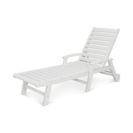 Signature Chaise with Wheels in White