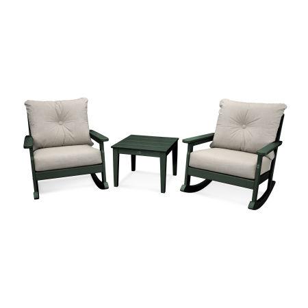 Vineyard 3-Piece Deep Seating Rocking Chair Set in Green / Cast Ash