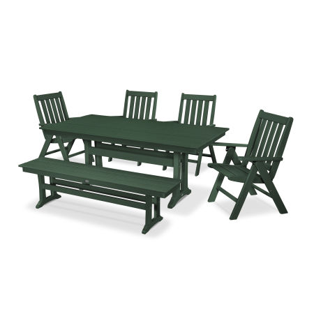 Vineyard 6-Piece Farmhouse Folding Dining Set with Bench in Green