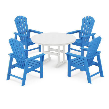 South Beach 5-Piece Dining Set in Pacific Blue / White