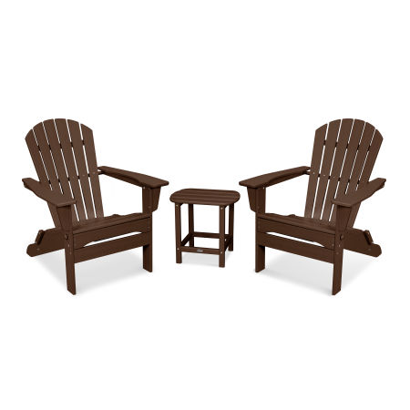South Beach 3-Piece Folding Adirondack Set in Mahogany