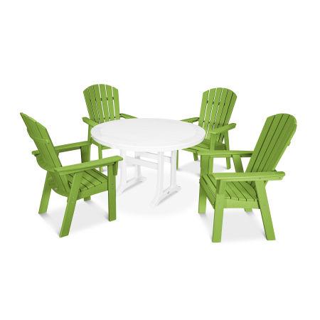 Nautical Adirondack 5-Piece Round Trestle Dining Set in Lime / White